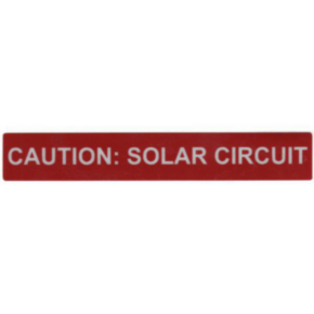 Printed Marker, Vinyl, Print Legend: Caution: Solar Circuit, Red
