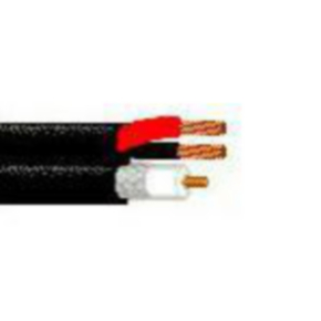 Composite Coaxial Cable, 18 AWG, Unshielded, Black, 539945