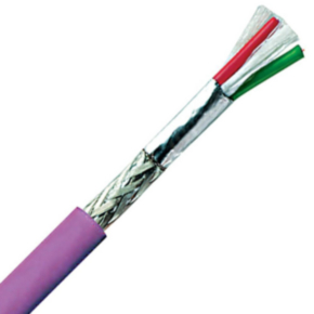 Profibus Cable, 24 AWG, Shielded, 2 Conductor, 250V, Violet