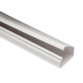 """Duct, 0.94""""x10'x1.51"""", Solid Wall, PVC, White"""