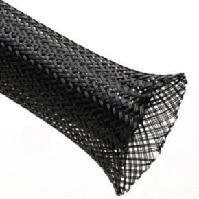 """Expandable Sleeve, Expands: 1.25"""" to 0.50"""", Uncoated, 0.025"""" Wall, Size 0.75"""", Polyester, Black"""